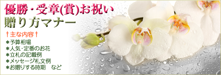優勝祝い、受章祝い、受章祝いの贈り方のマナー 胡蝶蘭、フラワー、観葉植物